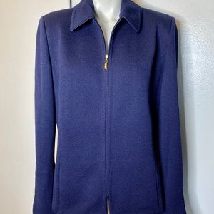 St. John Basics Navy Blue Jacket 12 Santana Knit